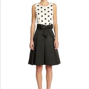 Eliza J Polka Dot Pleated Fit & Flare Belted Dress